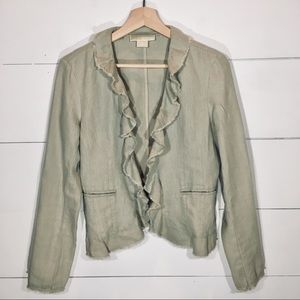 MICHAEL KORS Tan Ruffle Blazer Jacket SMALL EUC